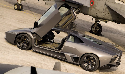 Lamborghini Reventon on the runaway along with the Tornado Jet Fighter (A200-A)