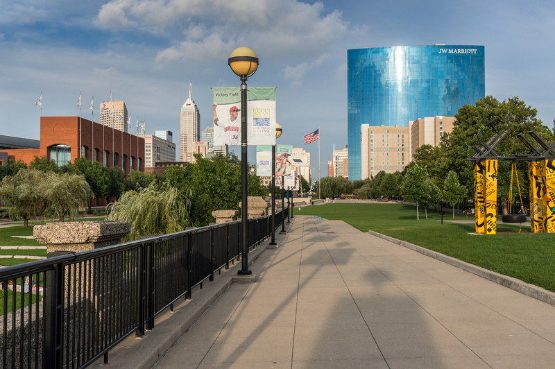 Indianapolis, Indiana  USA - Aug. 2016.  White River Park in downtown Indianapolis facing  the modern Hotel building, JW Marriott, which is the 7th-tallest building in Indianapolis