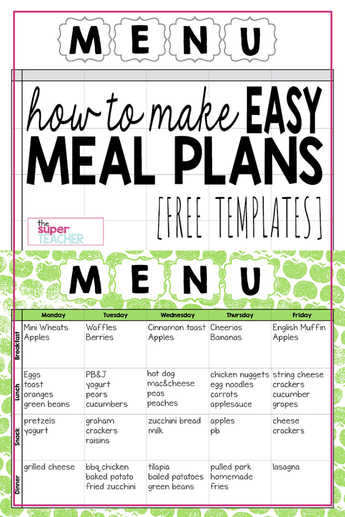 Make Easy Meal Plans with this Free Weekly Template