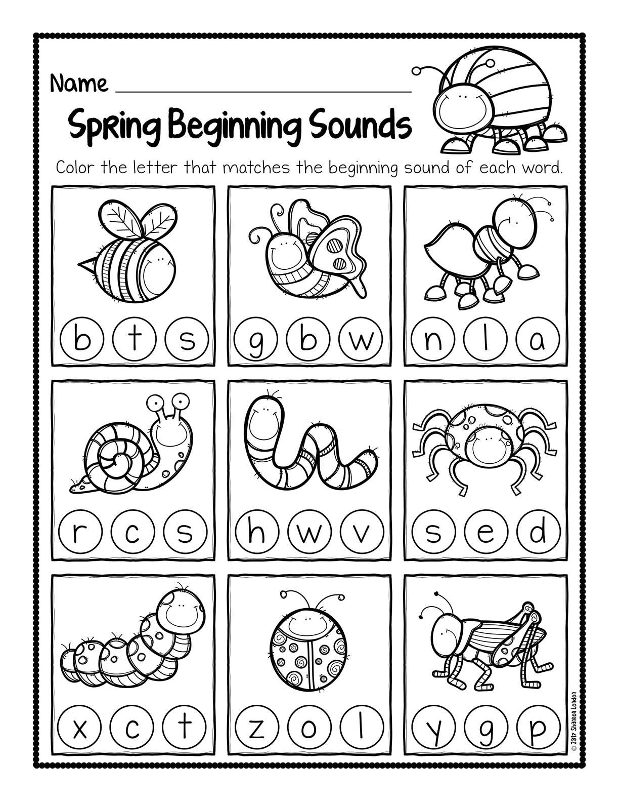 Spring Beginning Sound Worksheets 001
