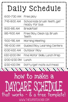 How to Make a Daycare Schedule that Works - and a Free Template!