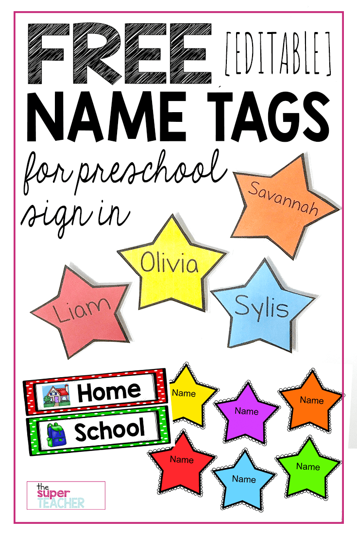 graphic relating to Printable Name Tages titled Free of charge Editable Star Reputation Tags - The Tremendous Instructor