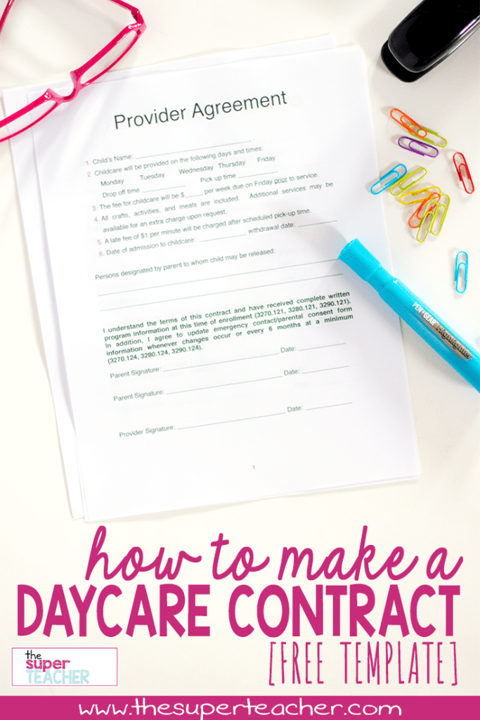 Free Daycare Contract Template Meets Requirements For Licensing - Daycare contract template