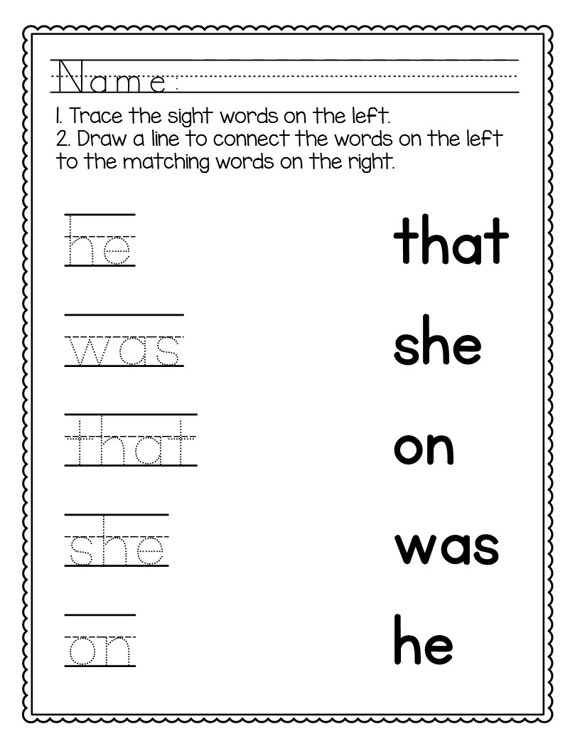 Kindergarten Sight Words Worksheets No Prep The Super