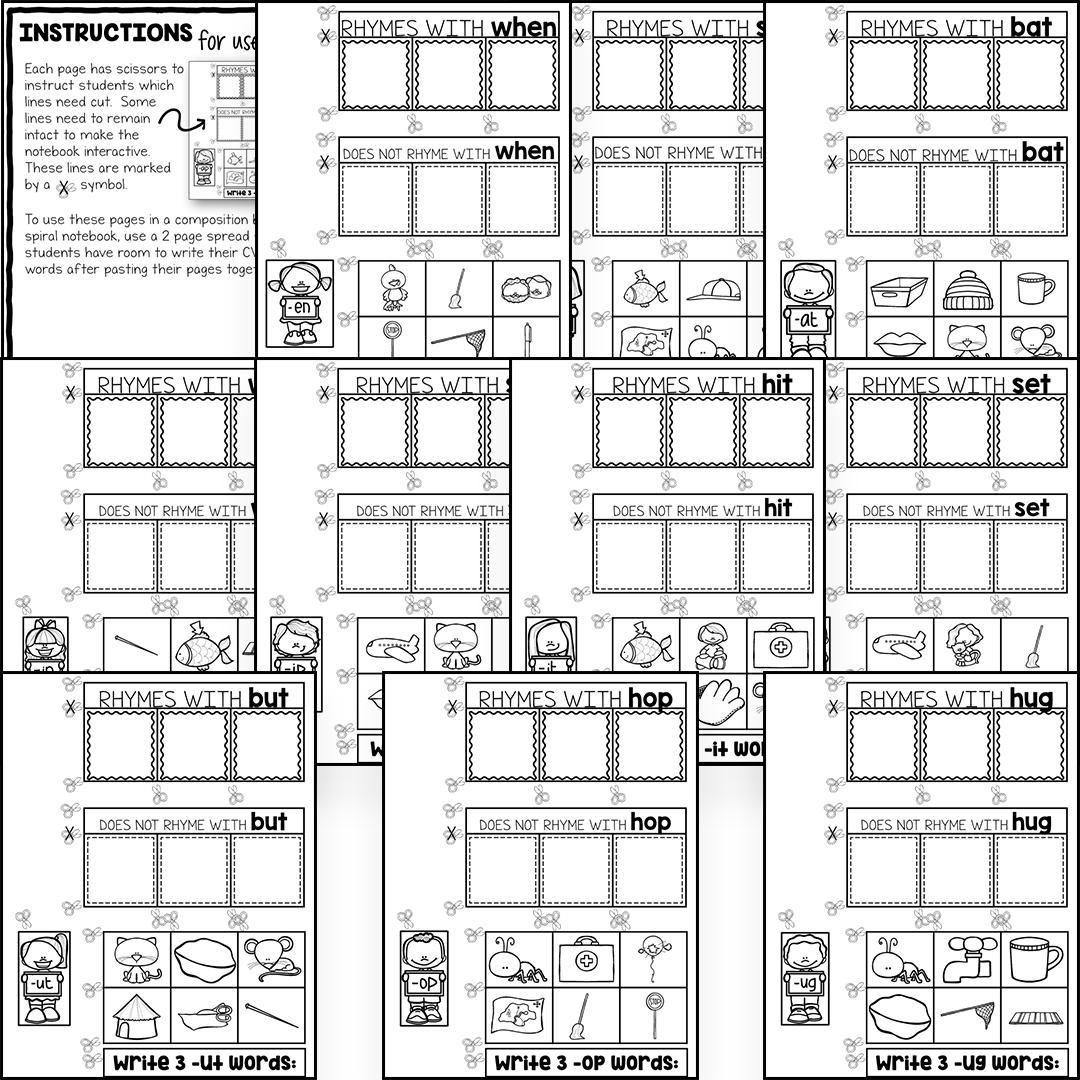 rhyming words interactive notebook rhymes worksheets the super teacher. Black Bedroom Furniture Sets. Home Design Ideas