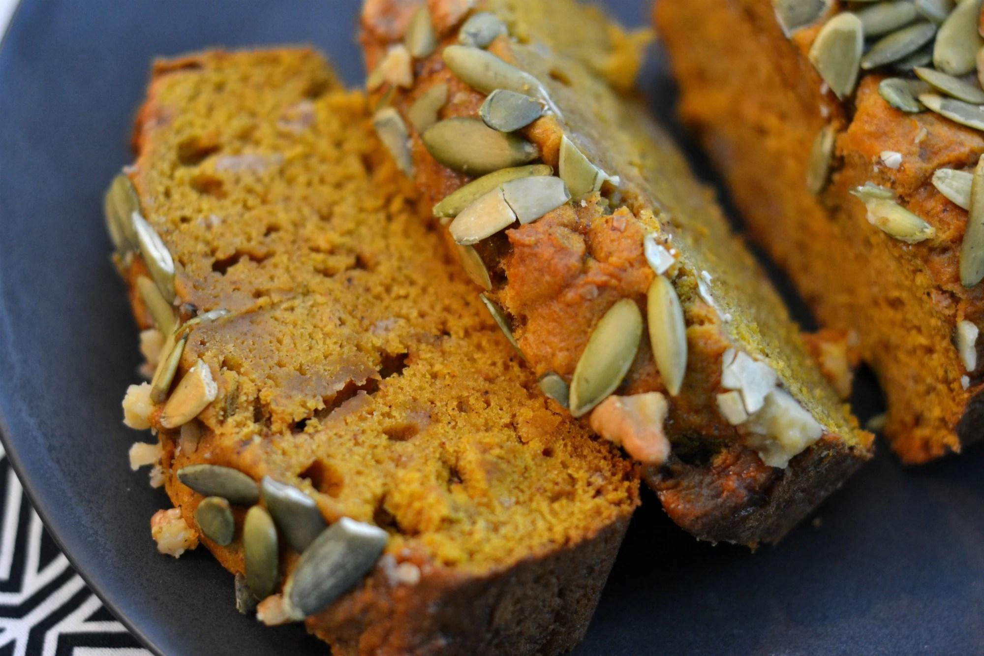 Pumpkin Bread Recipe that rivals Starbucks. Topped with pepitas and walnuts. Yum!   www.thesurferskitchen.com