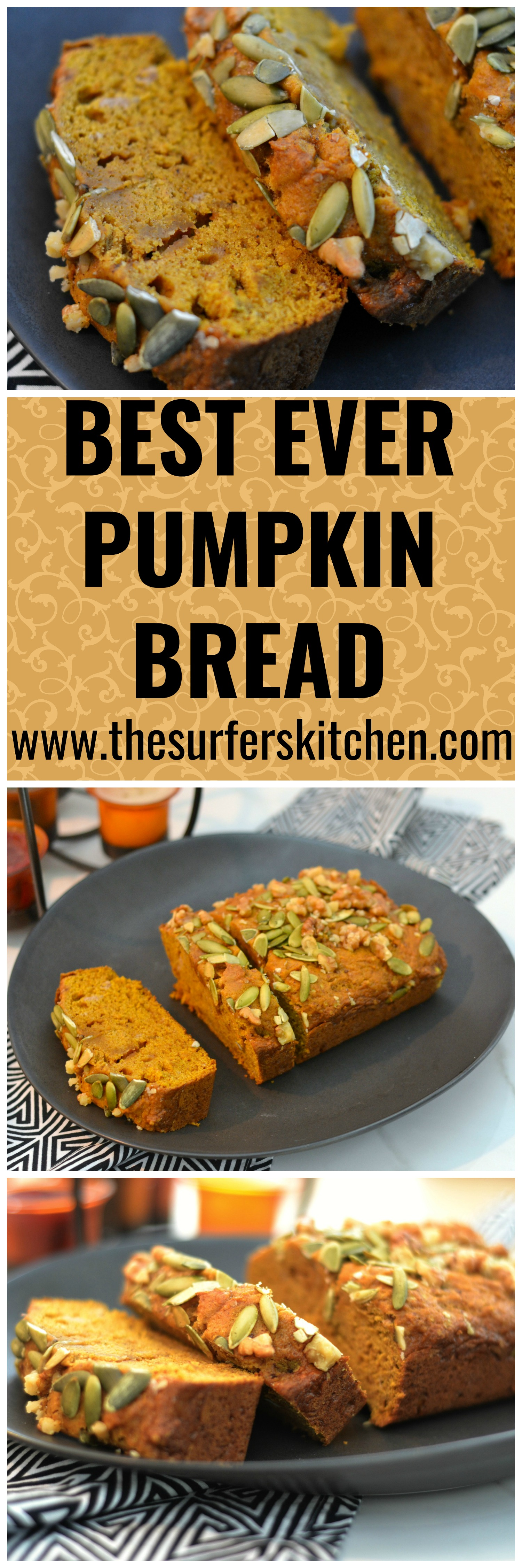 Best Ever Pumpkin Bread that rivals that of Starbucks and other bakeries. Not too spicy, not too sweet. Just perfect. Enjoy! | www.thesurferskitchen.com