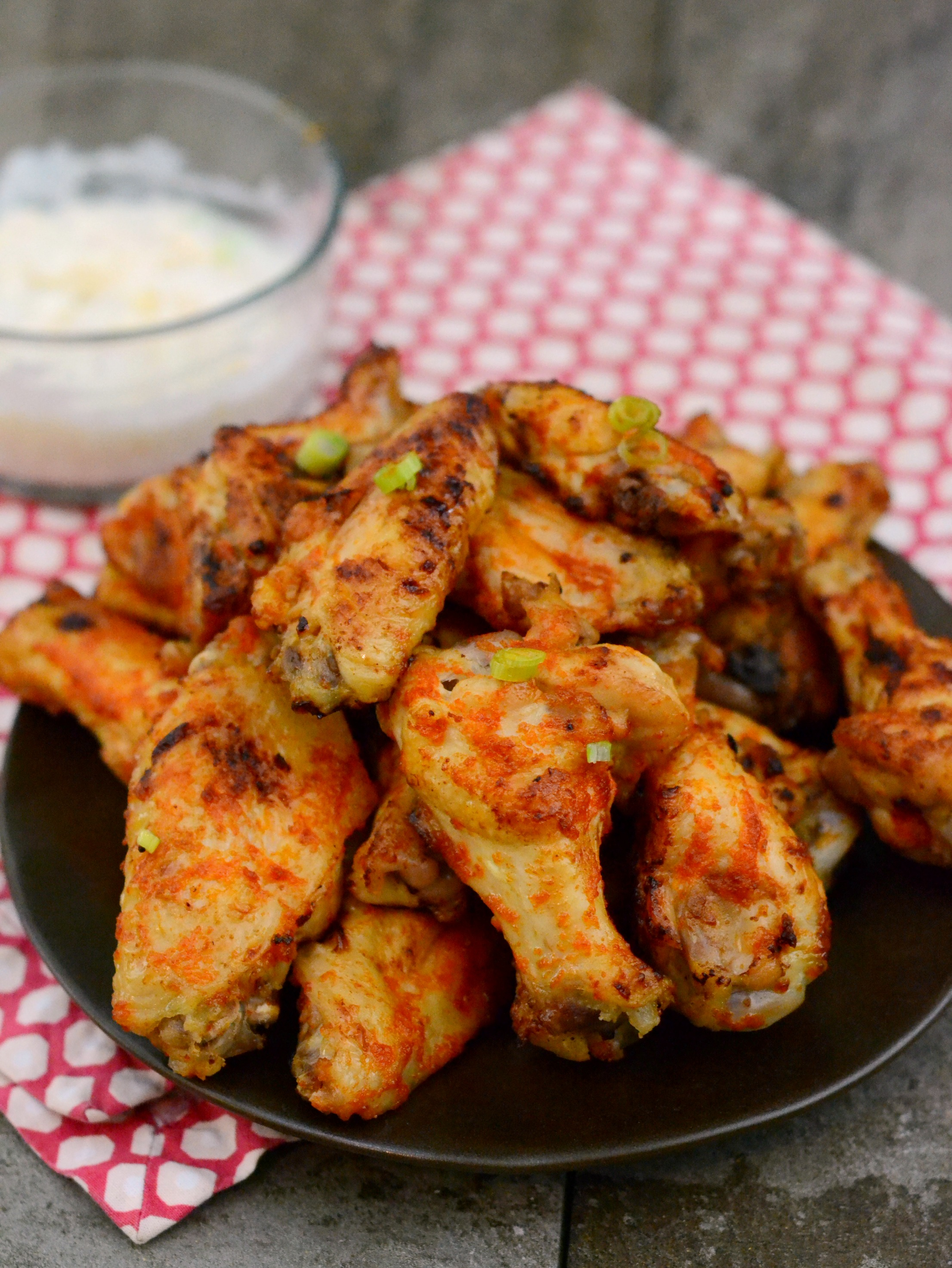 platter of spicy baked chicken wings