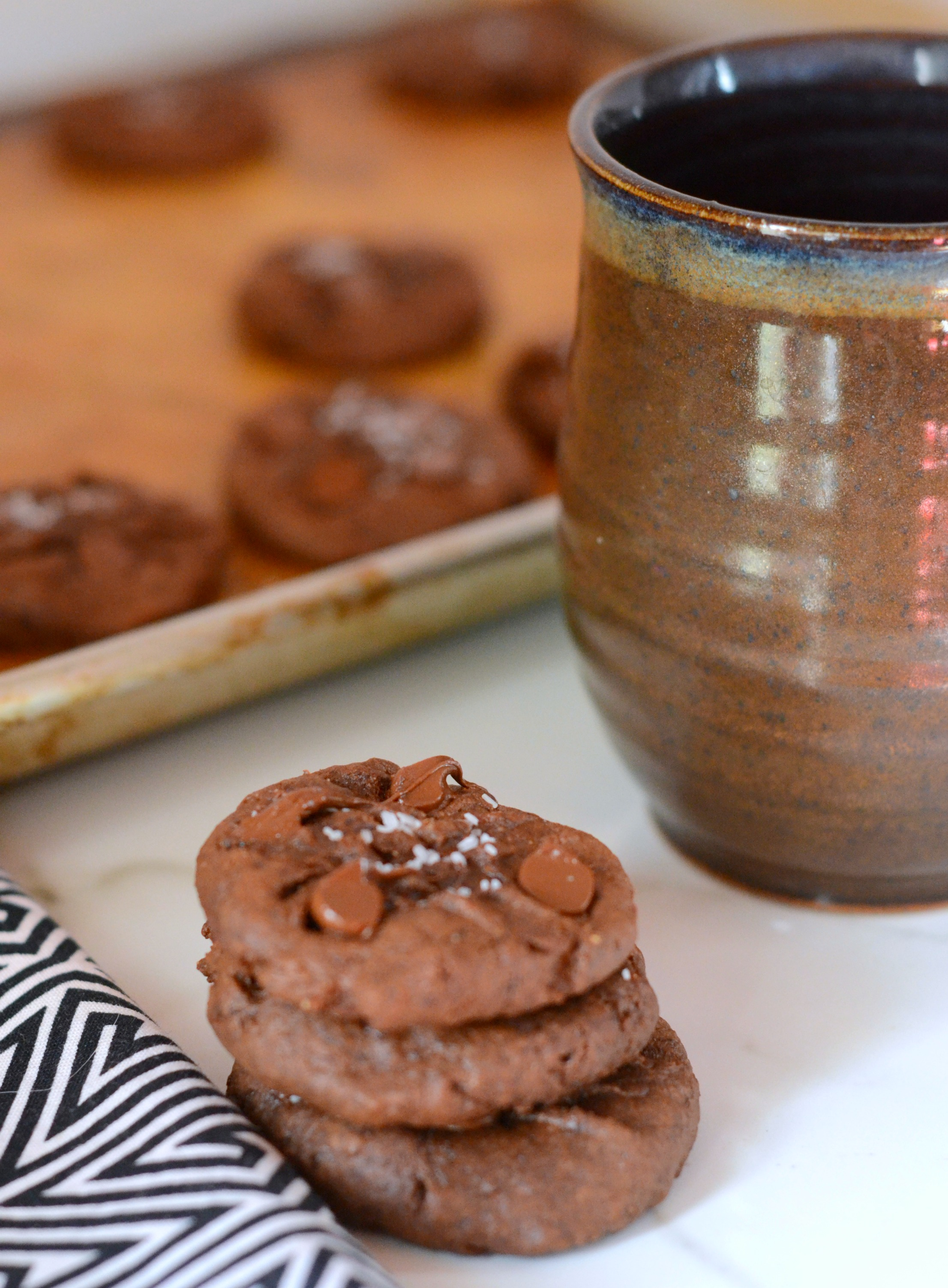 stack of chocolate fudge cookies