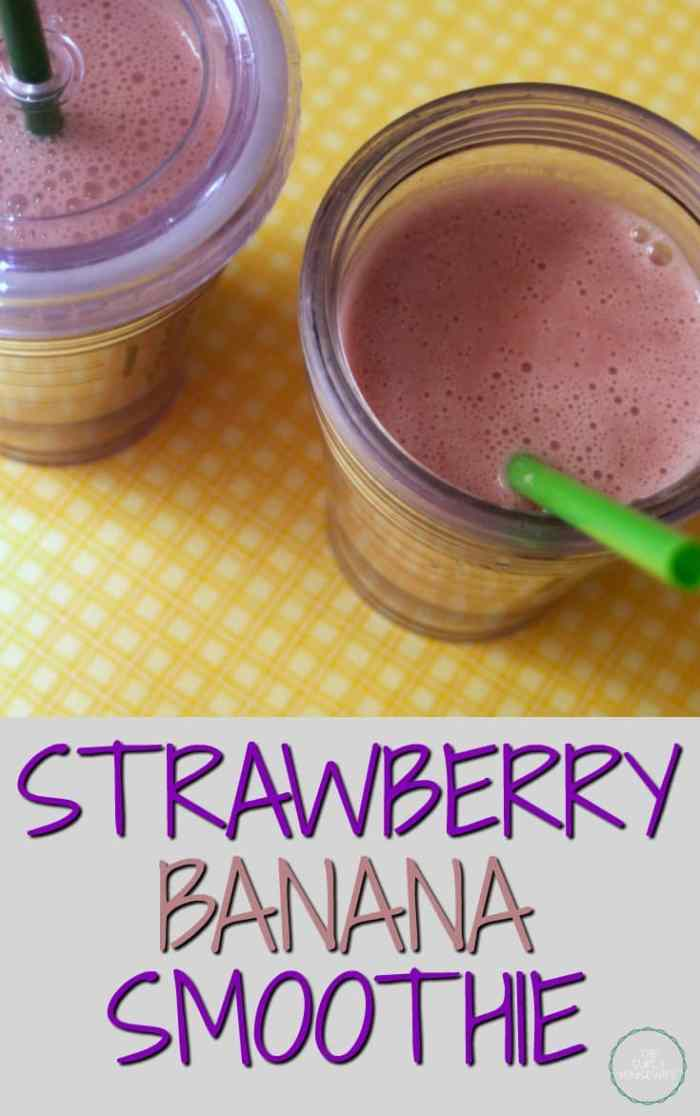Smoothies are a nutricious treat for your family. This Strawberry Banana Smoothie makes a great snack, addition to lunchtime, or an after workout treat!