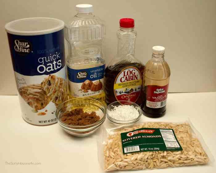 Chunky Granola Recipe Ingredients