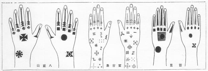 Zogenaamde Hajiti/Hajichi tatoeages uit Okinawa.