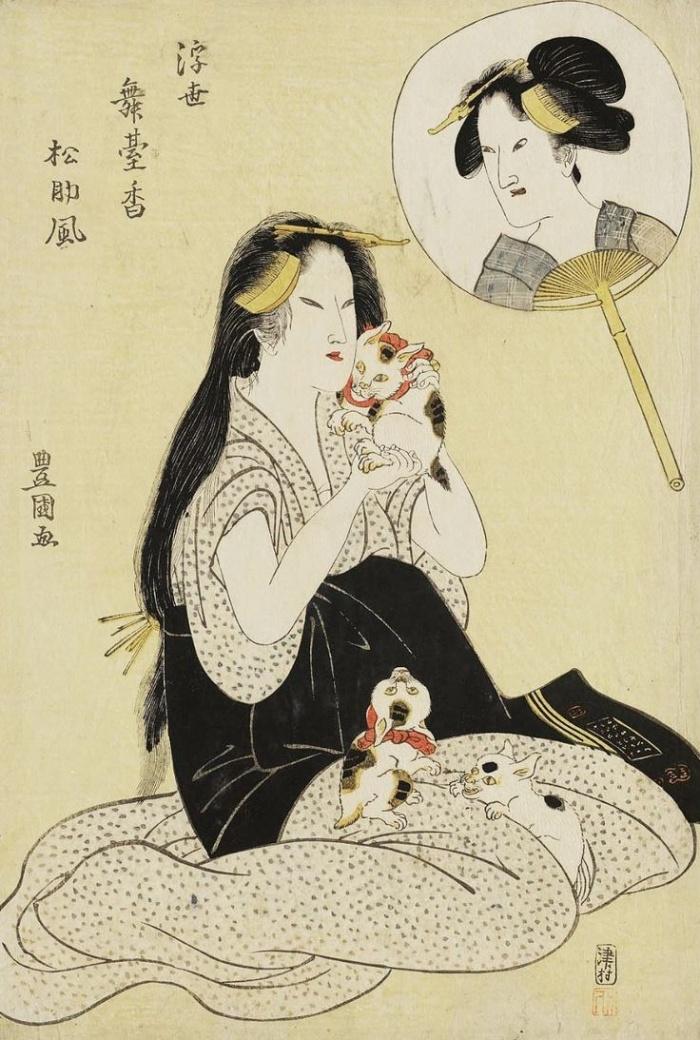 Ukiyo-E print uit begin 19de eeuw met Japanse bobtails. Door Utagawa Toyokuni.