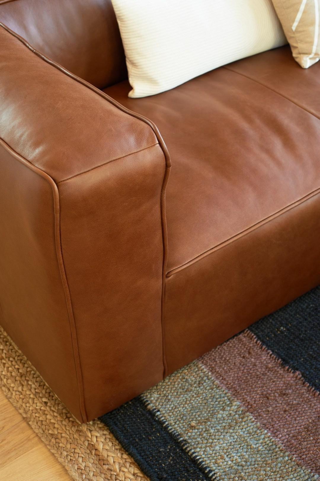 Mello Taos Tan Sofa Leather Close Up