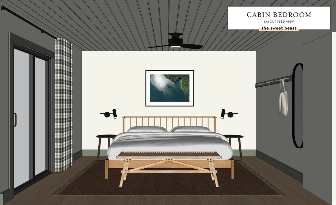 SketchUp drawing of a cabin bedroom looking at the foot of the bed