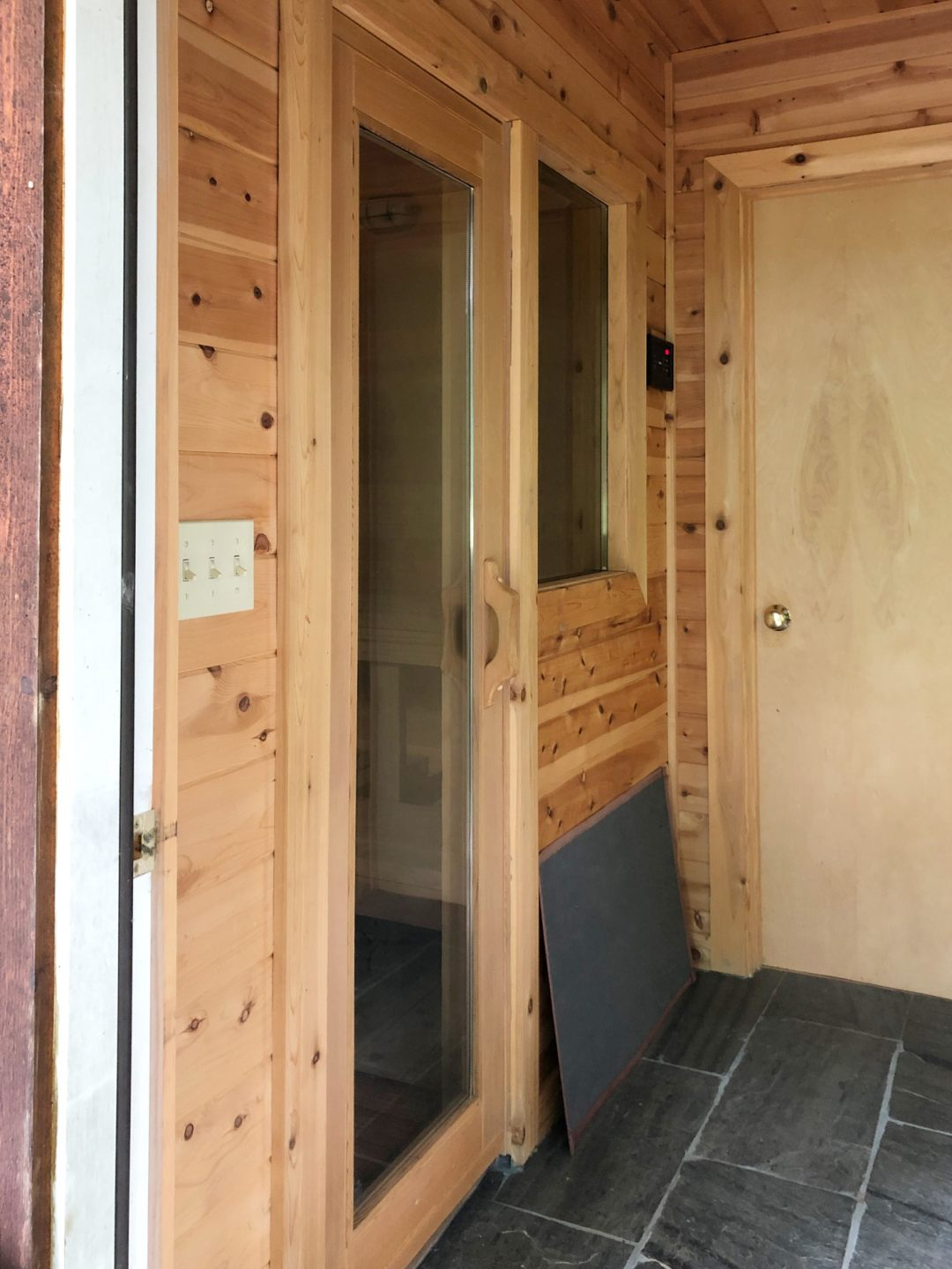 Wood interior of outdoor sauna