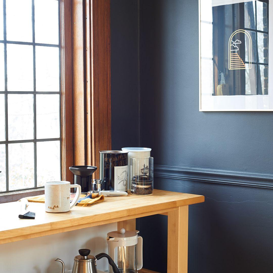 Coffee Nook Storage Painted Chair Rail