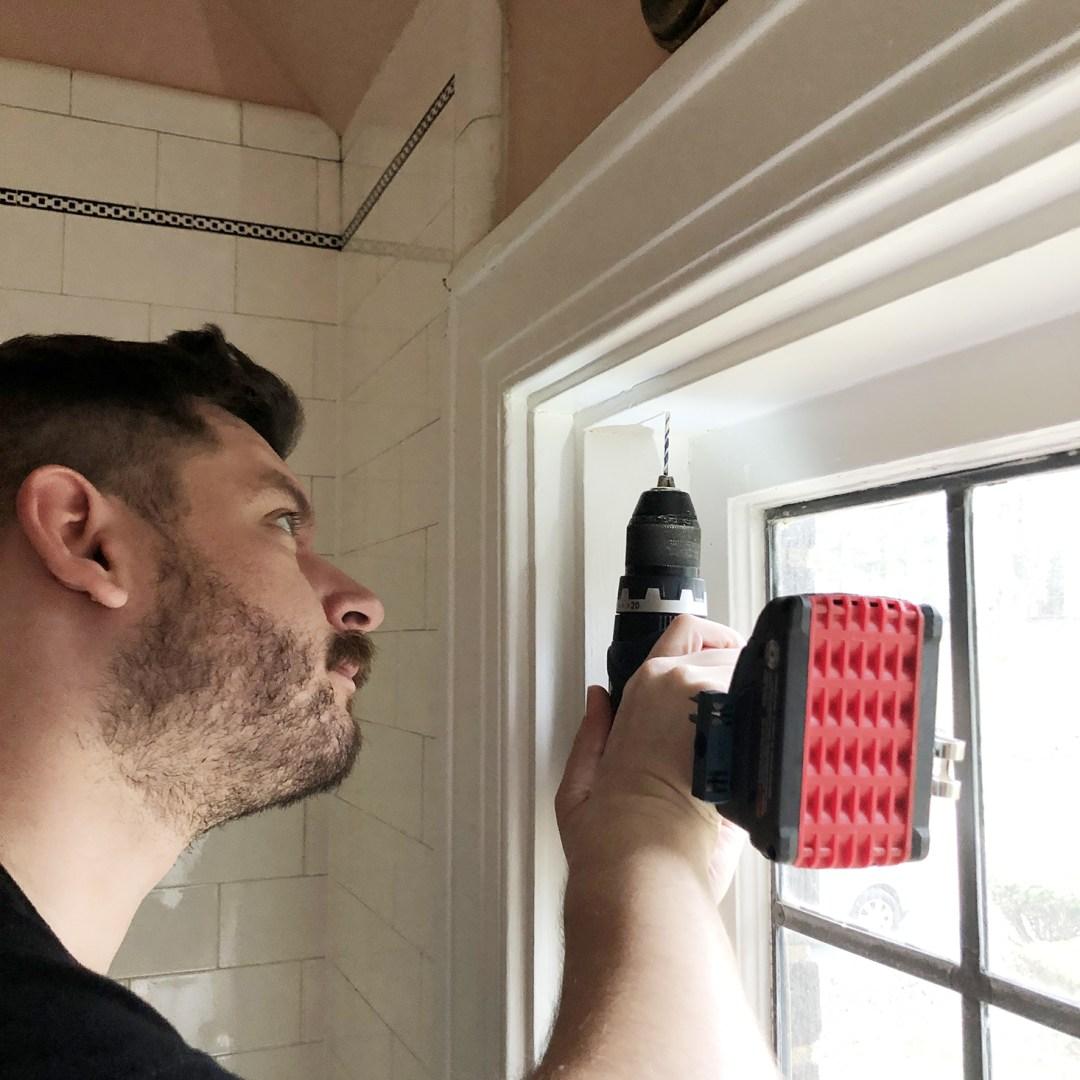 Drilling pilot holes for roman shades