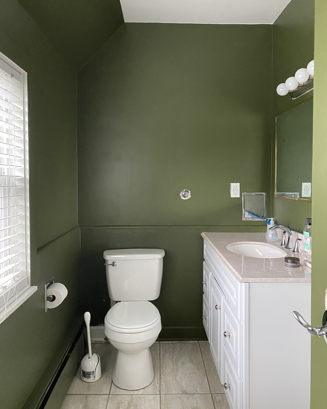 Bathroom painted Behr Russian Olive