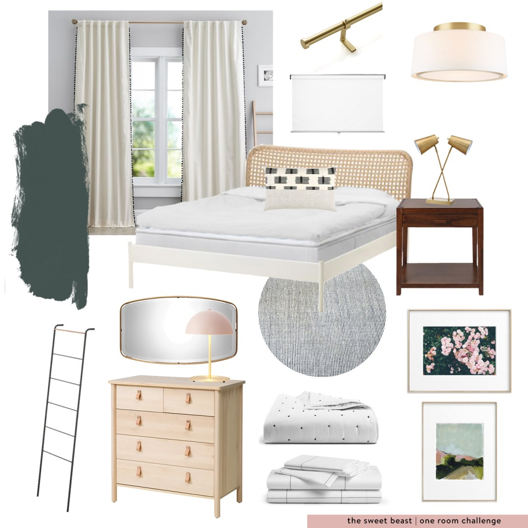 One Room Challenge Green Guest Room Moodboard