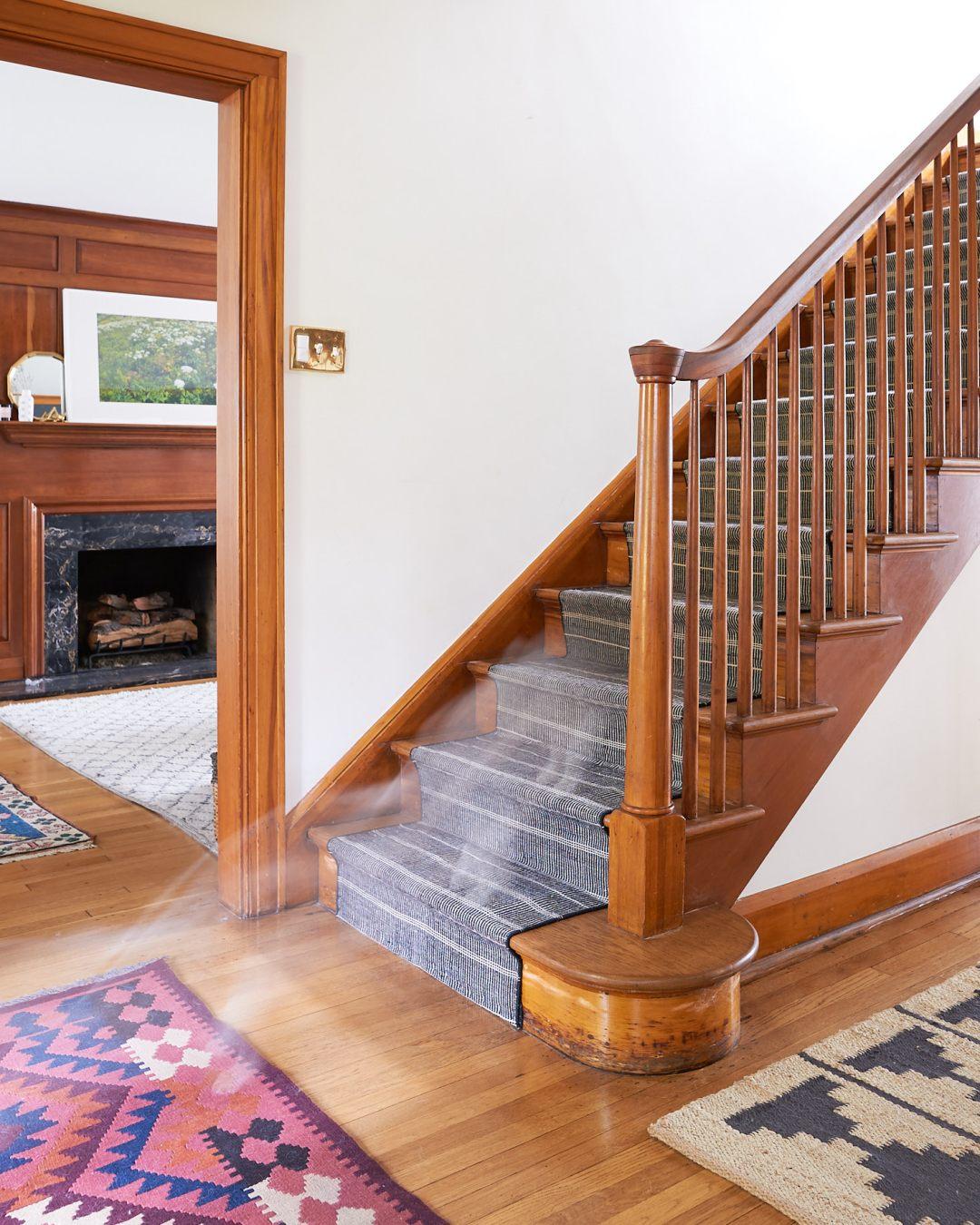 corgi running down the stairs