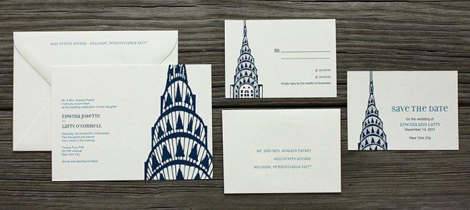 New York City Skyline Letterpress Wedding Invitaition