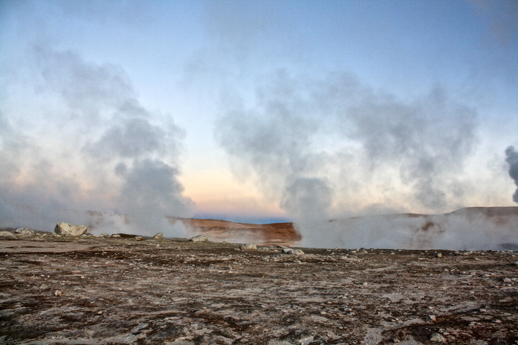 Natural geysers on the three-day Salar de Uyuni tour