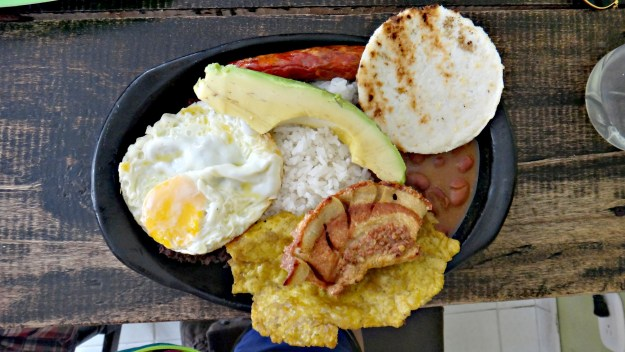 Bandeja Paisa in Colombia. For good nutrition, keep an eye on your portion sizes.