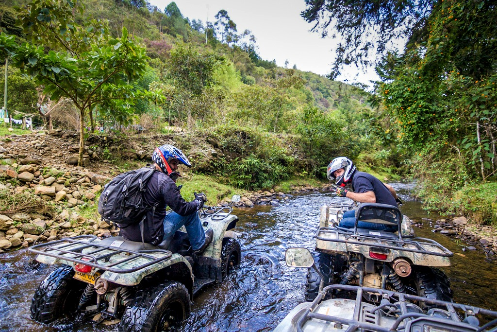 Riding ATVs in Guarne, Colombia
