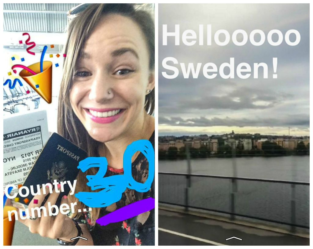 Arriving in Sweden, my 30th country!