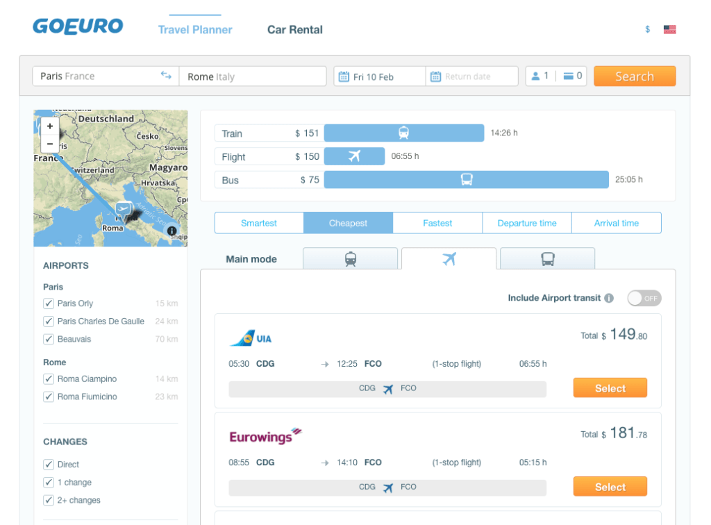 GoEuro Travel Planner Review