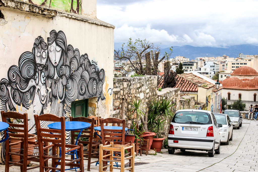 Street art and city views in Athens, Greece