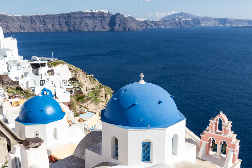 Iconic Blue Domes in Oia, Santorini, Greece