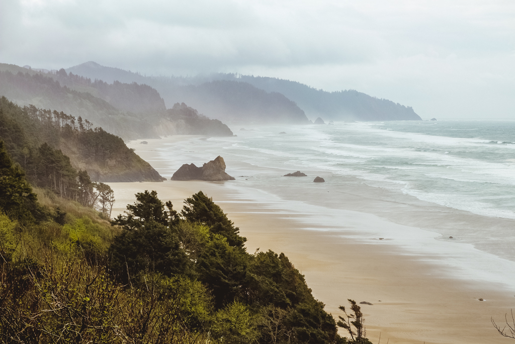 Driving along Highway 101 on the Oregon Coast