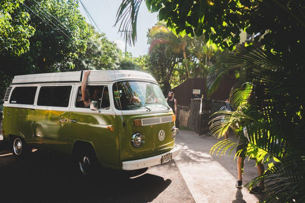 Volkswagen van in a tropical setting