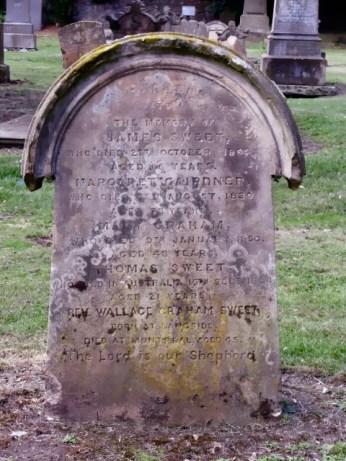 Headstone: James Sweet Margaret Gardiner Mary Graham Thomas Sweet Rev Wallace Graham Sweet