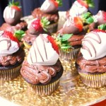 Double Chocolate Cupcakes with Dipped Strawberries