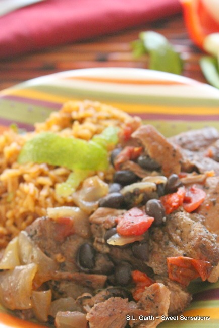Pork and Black Beans with Chili Lime Rice is a hearty meal that will leave you wanting seconds!