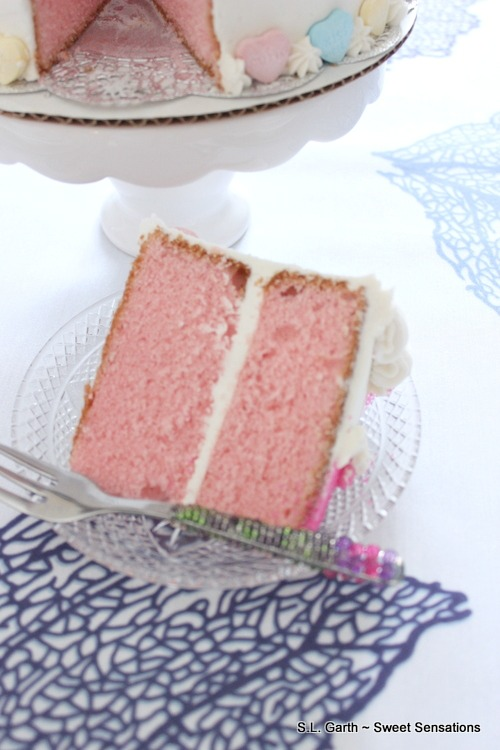 An idea for a floral tablescape wasn't coming to me so I used this Pretty in Pink Cherry Cake as an Edible Centerpiece.