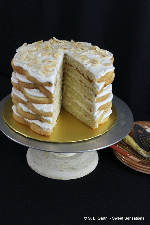 This French Vanilla Cake with Banana Cream Cheese Frosting was moist, fluffy and received a boost in flavor from banana liqueur. You're welcome.
