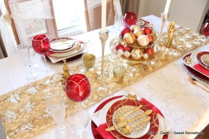 When it comes to styling an Elegant Christmas Tablescape adding sparkle and shine help to achieve the goal.