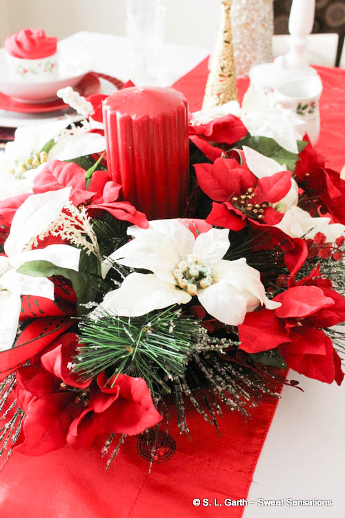 Using Poinsettias for a Christmas Table makes use of the traditional color palette of the holiday season, plus adds an air of festivity.