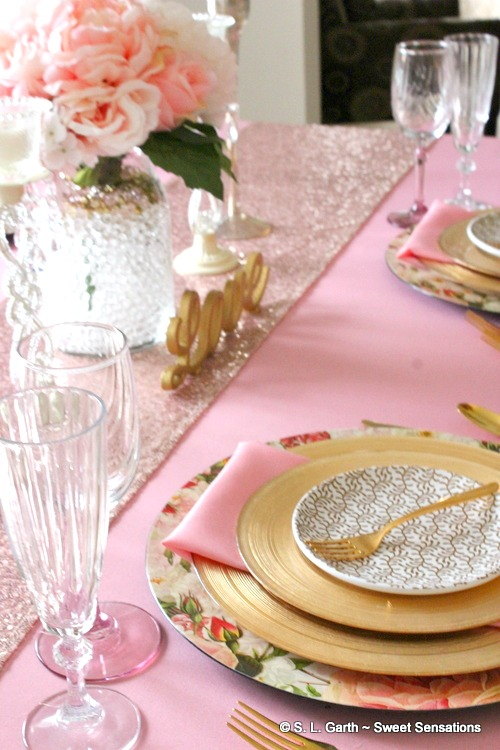 This Rose Quartz and Gold Elegant Tablescape is right on time for Valentine's Day but will also work well for a bridal shower, or ladies luncheon. In a larger setting, this would be the perfect sweetheart or bridal table.