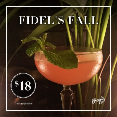 Cocktail of the Month April The Swinging Cat Fidel's Fall Bacardi Carta Oro, Apricot Brandy, Lime, Grapefruit, Cranberry, and Mint