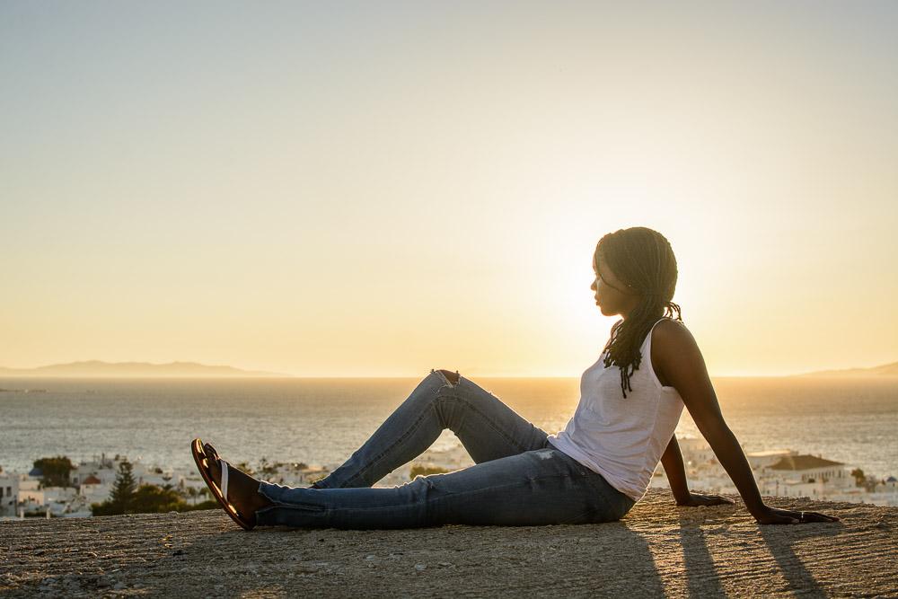 Toni Enjoying the Sunset in Mykonos