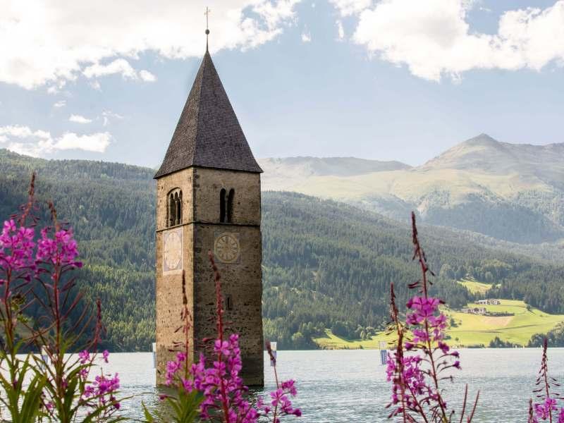 Steeple in Reschensee, Südtirol