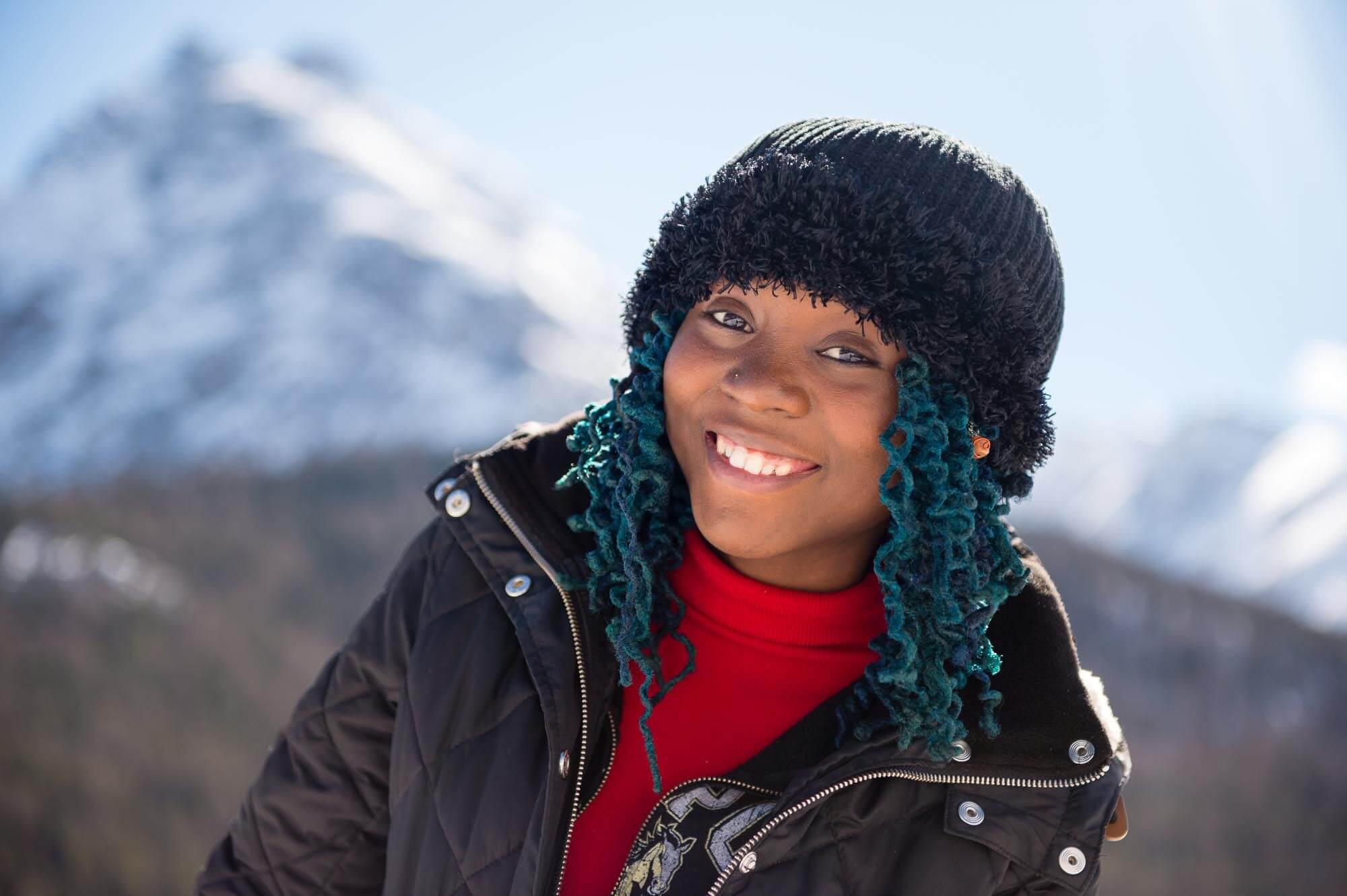 Portrait of girl in alps