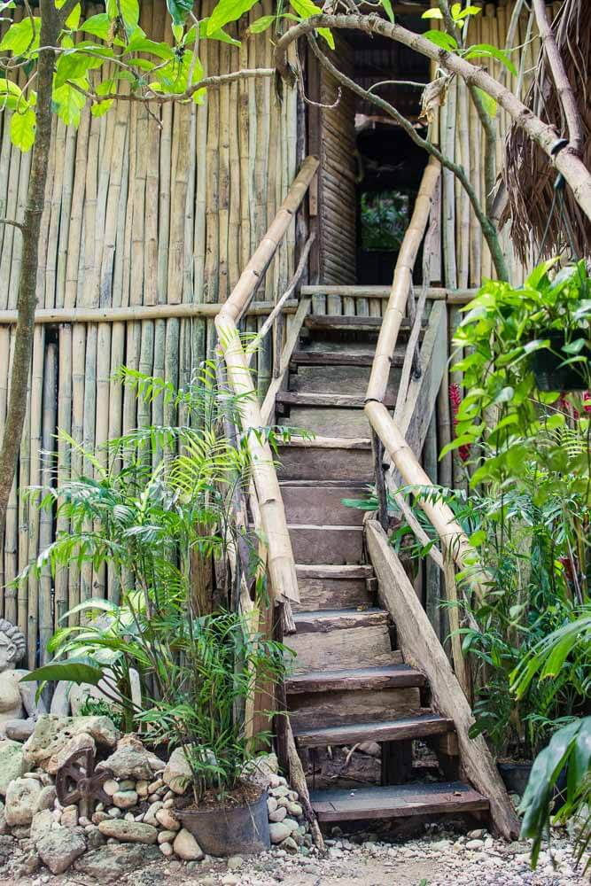 Wooden Staircase to Hut