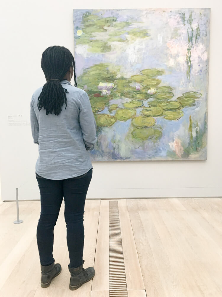 Me Observing Monet's Water Lilies Painting