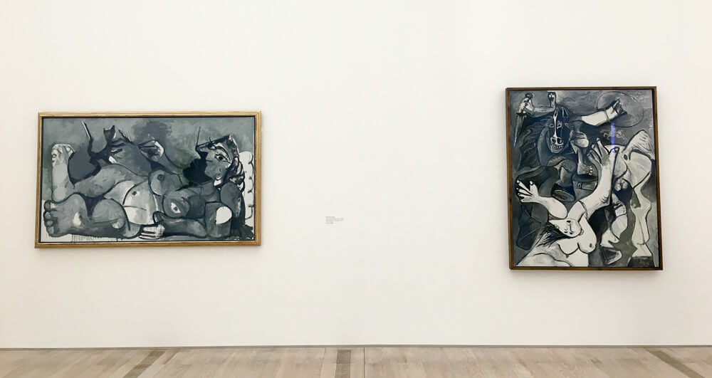 Pablo Picasso's (Left) Reclining Woman Playing with a Cat, 1964 and (Right) The Rape of the Sabines, 1962